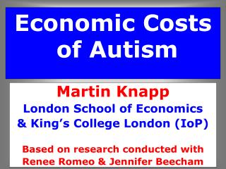 Economic Costs of Autism