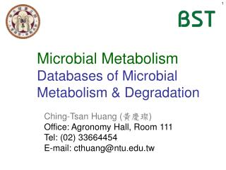 Microbial Metabolism Databases of Microbial Metabolism & Degradation