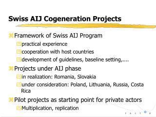 Swiss AIJ Cogeneration Projects