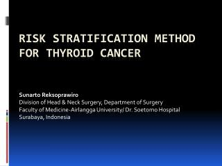 Risk stratification method  for thyroid cancer