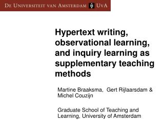 Hypertext writing, observational learning, and inquiry learning as supplementary teaching methods