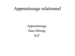 Apprentissage relationnel
