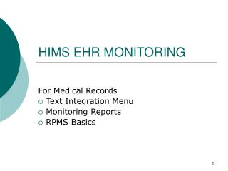 HIMS EHR MONITORING