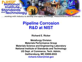 Pipeline Corrosion R&D at NIST