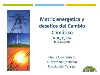Matriz energética y desafíos del Cambio Climático RLIE, Quito 11 de julio 2013 Flavia Liberona C.