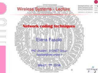 Network coding techniques