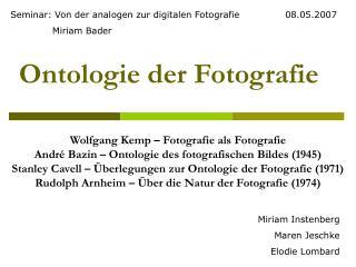 Ontologie der Fotografie