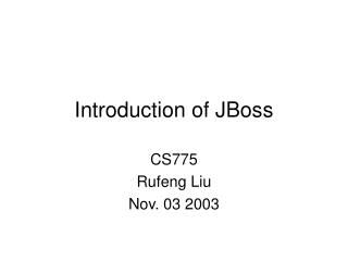 Introduction of JBoss