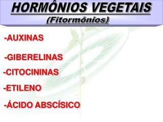 HORMÔNIOS VEGETAIS