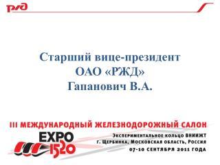 Старший вице-президент  ОАО «РЖД» Гапанович В.А.