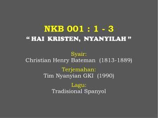 NKB 001 : 1 - 3
