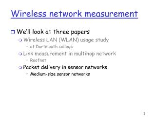 Wireless network measurement