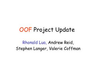 OOF  Project Update