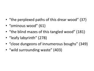 """the perplexed paths of this drear wood"" (37) ""ominous wood"" (61)"