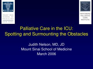 Palliative Care in the ICU: Spotting and Surmounting the Obstacles