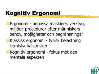 Kognitiv Ergonomi