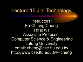 Lecture 15 Jini Technology
