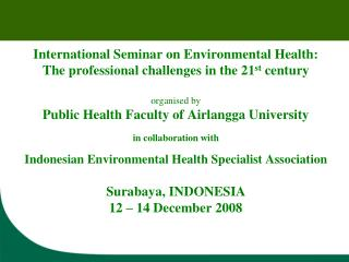 International Seminar on Environmental Health: