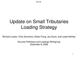 Update on Small Tributaries Loading Strategy