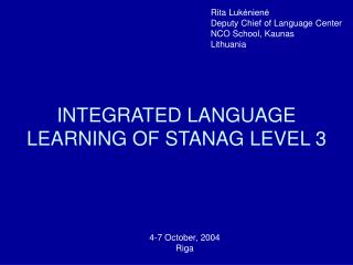 INTEGRATED LANGUAGE LEARNING OF STANAG LEVEL 3