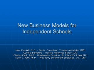 New Business Models for Independent Schools