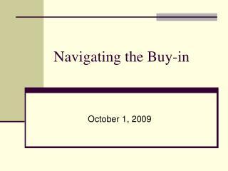 Navigating the Buy-in