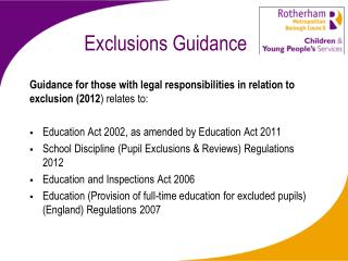 Exclusions Guidance