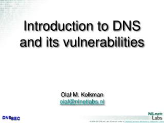 Introduction to DNS and its vulnerabilities