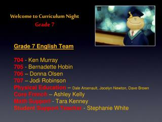 Welcome to Curriculum Night Grade 7