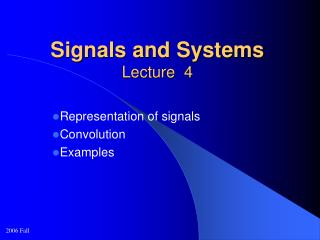 Signals and Systems Lecture  4