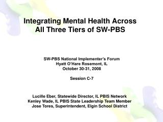 Integrating Mental Health Across  All Three Tiers of SW-PBS