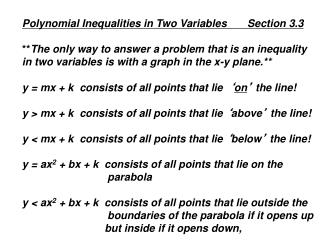 Polynomial Inequalities in Two Variables       Section 3.3