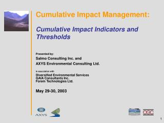 Cumulative Impact Management: Cumulative Impact Indicators and Thresholds