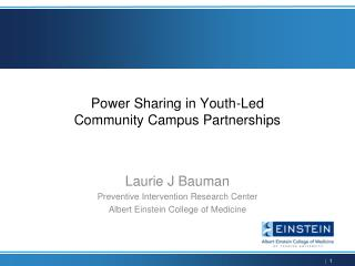 Power Sharing in Youth-Led  Community Campus Partnerships