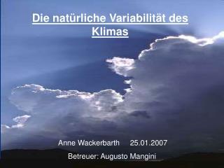 Die nat rliche Variabilit t des Klimas