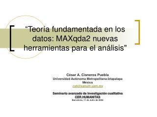 """""""Teo ría fundamentada en los datos: MAXqda2 nuevas herramientas para el análisis """""""
