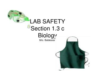 LAB SAFETY Section 1.3 c Biology  Mrs. Baldessari