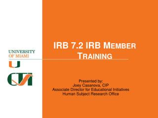 IRB 7.2  IRB Member Training