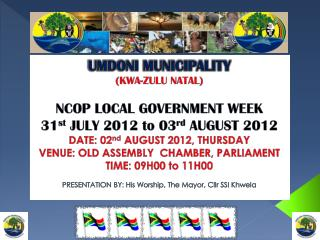 UMDONI MUNICIPALITY (KWA-ZULU NATAL) NCOP LOCAL GOVERNMENT WEEK