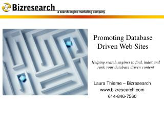 Promoting Database Driven Web Sites