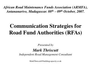 Communication Strategies for Road Fund Authorities (RFAs)