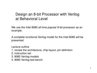 Design an 8-bit Processor with Verilog at Behavioral Level