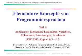 Elementare Konzepte von Programmiersprachen