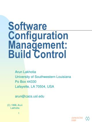 Software Configuration Management: Build Control