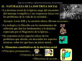 II.- NATURALEZA DE LA DOCTRINA SOCIAL