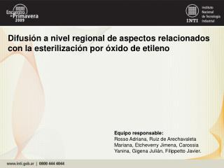 Difusión a nivel regional de aspectos relacionados con la esterilización por óxido de etileno
