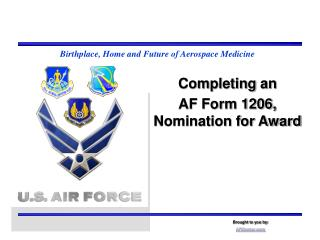 Completing an AF Form 1206, Nomination for Award