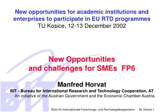 New opportunities for academic institutions and enterprises to participate in EU RTD programmes