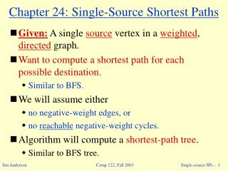 Chapter 24: Single-Source Shortest Paths