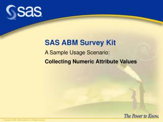 SAS ABM Survey Kit A Sample Usage Scenario: Collecting Numeric Attribute Values